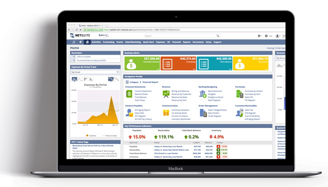 NetSuite CRM screen shown on laptop from CloudGeniusERP